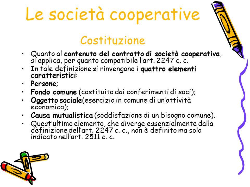 Le società cooperative Costituzione