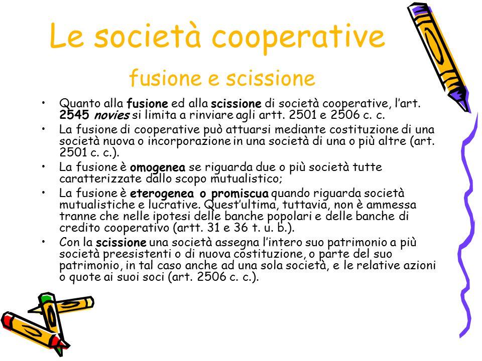Le società cooperative fusione e scissione