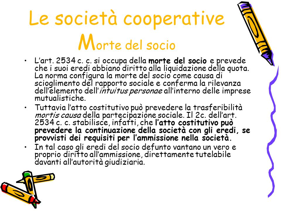 Le società cooperative Morte del socio