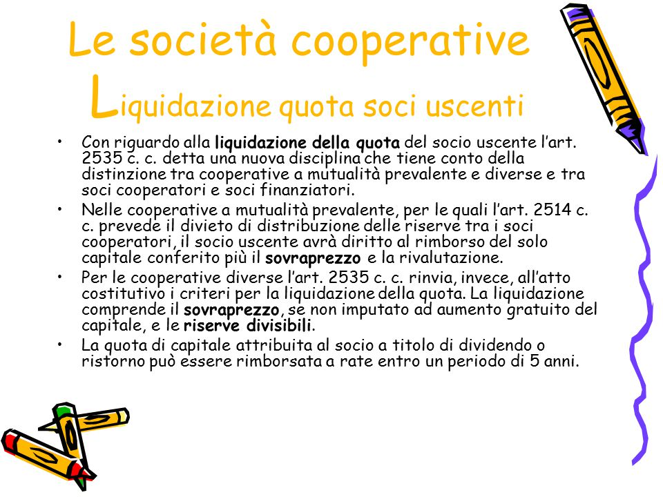Le società cooperative Liquidazione quota soci uscenti