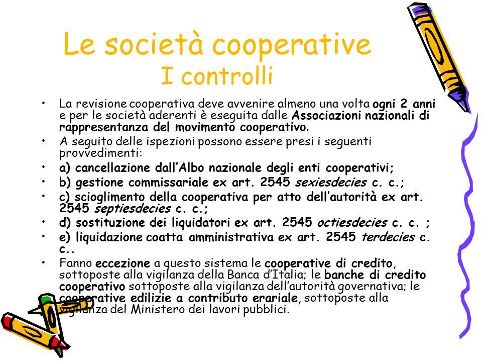 Le società cooperative I controlli