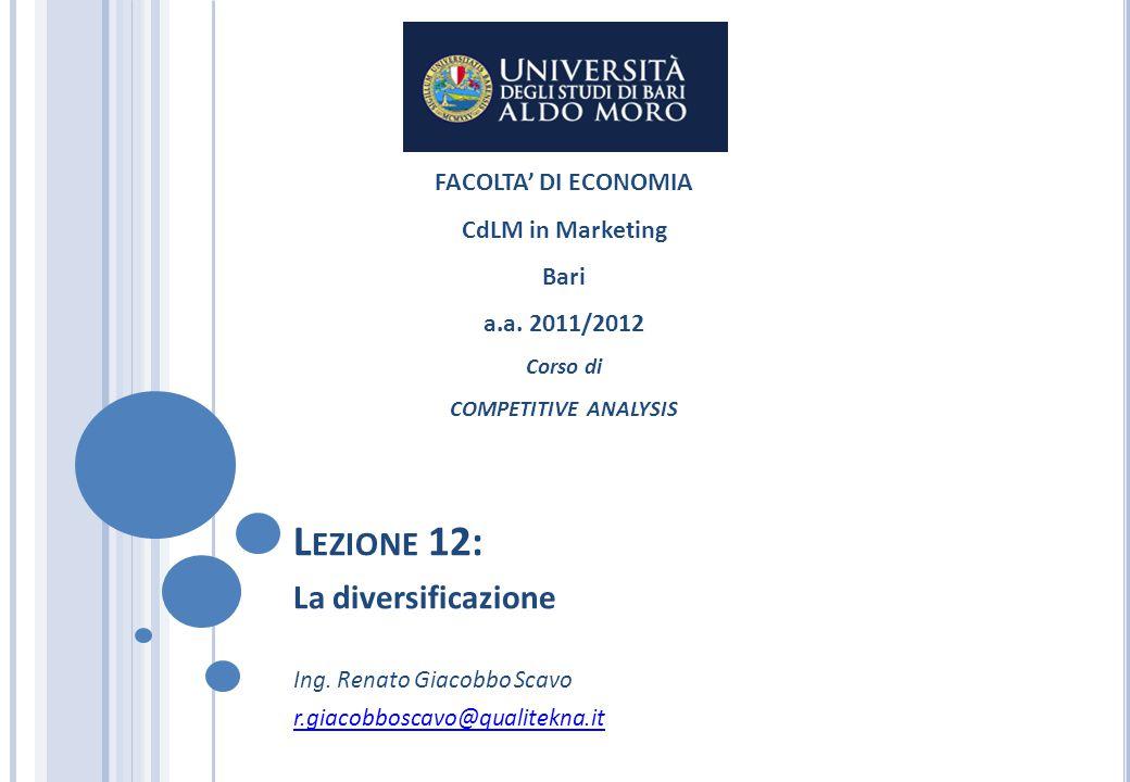 Lezione 12: La diversificazione FACOLTA' DI ECONOMIA CdLM in Marketing
