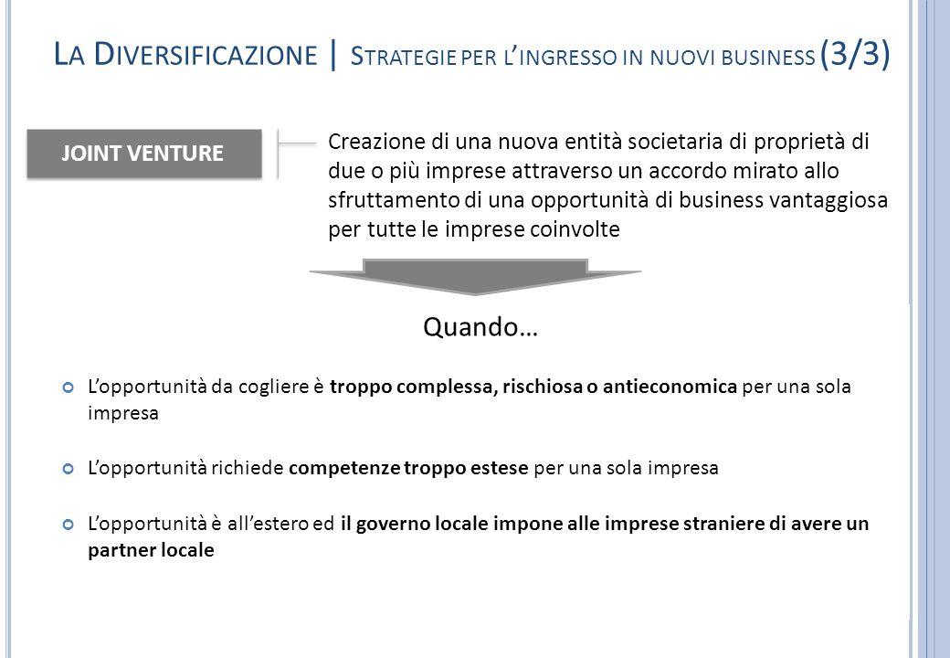 La Diversificazione | Strategie per l'ingresso in nuovi business (3/3)