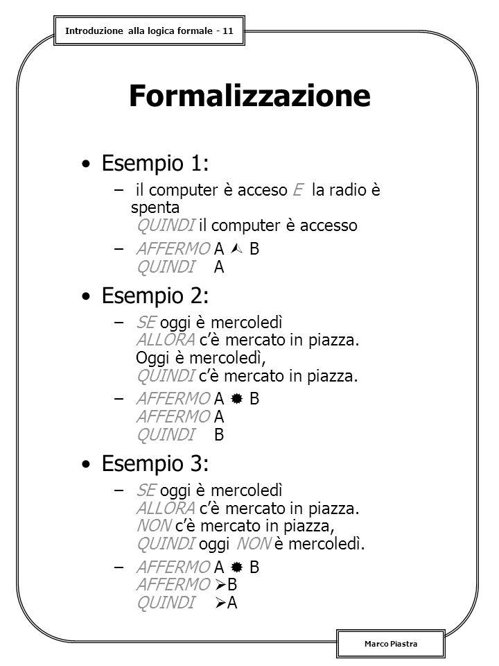 Formalizzazione Esempio 1: Esempio 2: Esempio 3: