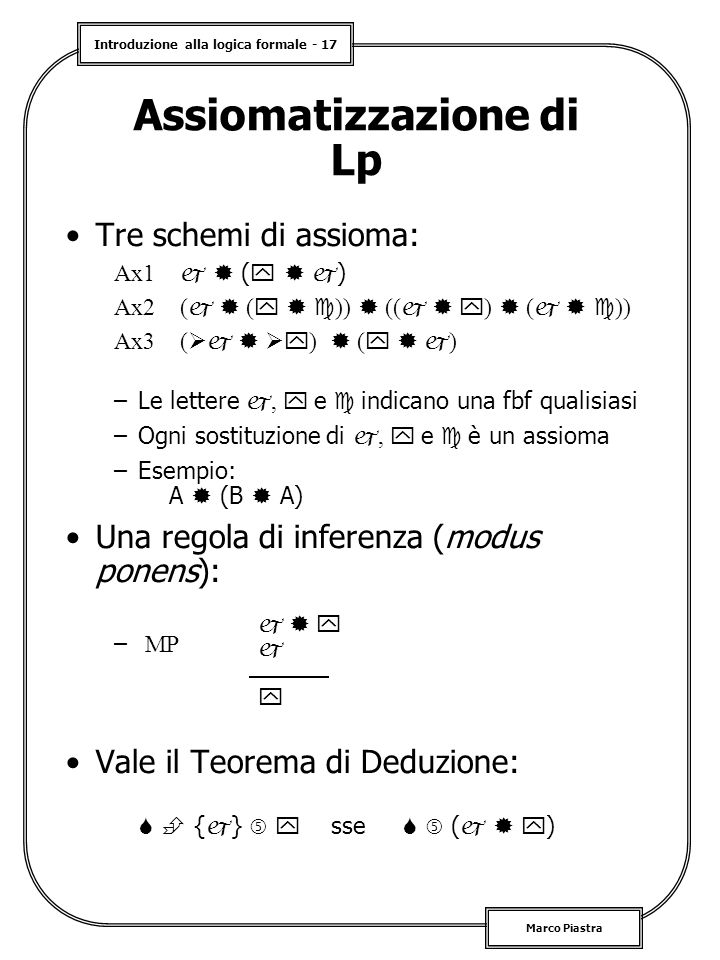 Assiomatizzazione di Lp