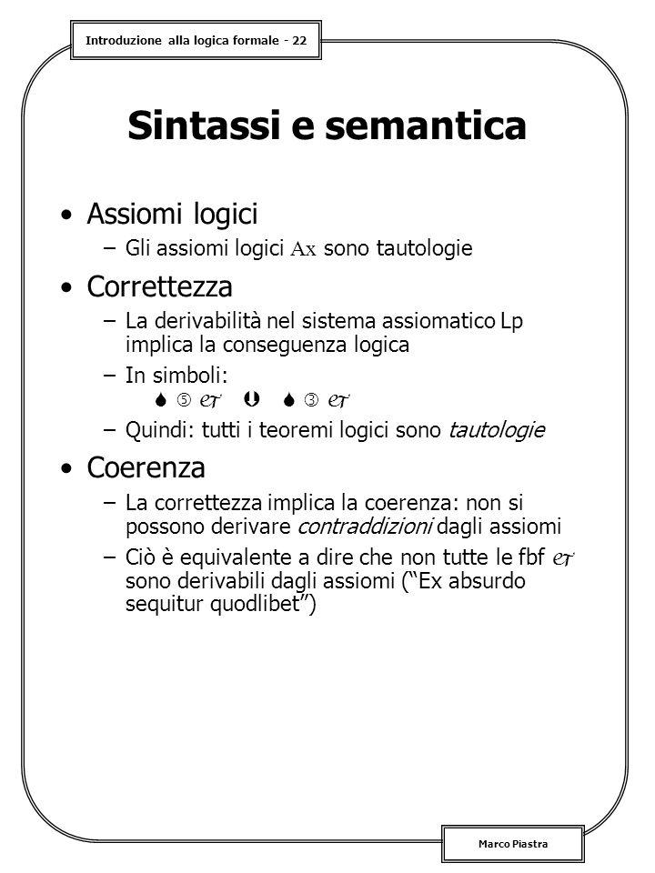 Sintassi e semantica Assiomi logici Correttezza Coerenza