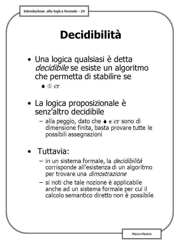Decidibilità Una logica qualsiasi è detta decidibile se esiste un algoritmo che permetta di stabilire se.