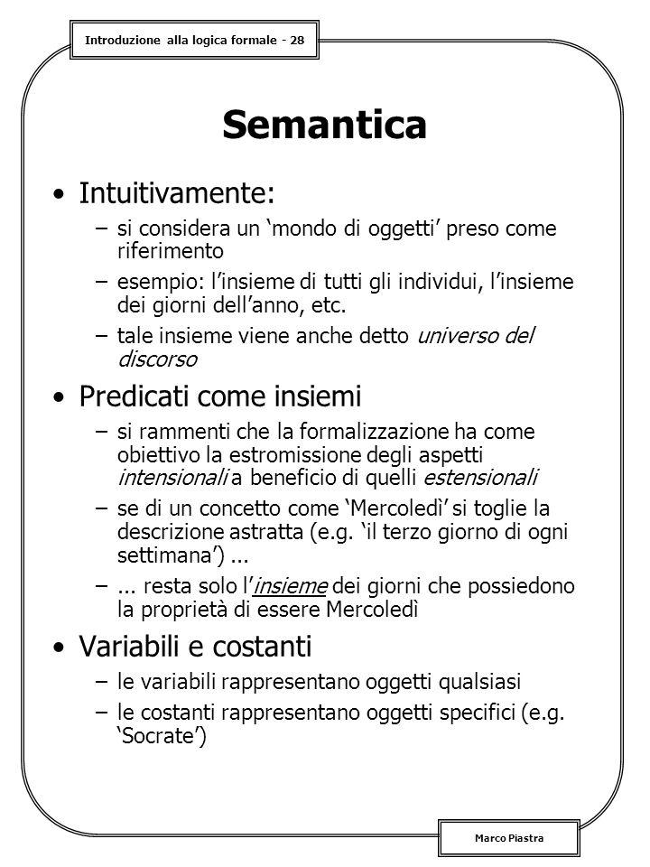 Semantica Intuitivamente: Predicati come insiemi Variabili e costanti