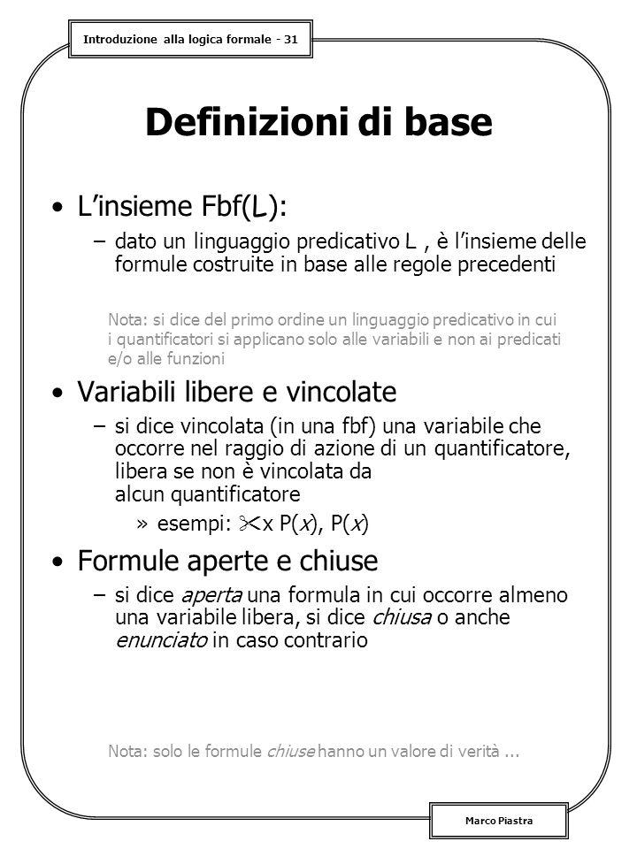 Definizioni di base L'insieme Fbf(L): Variabili libere e vincolate
