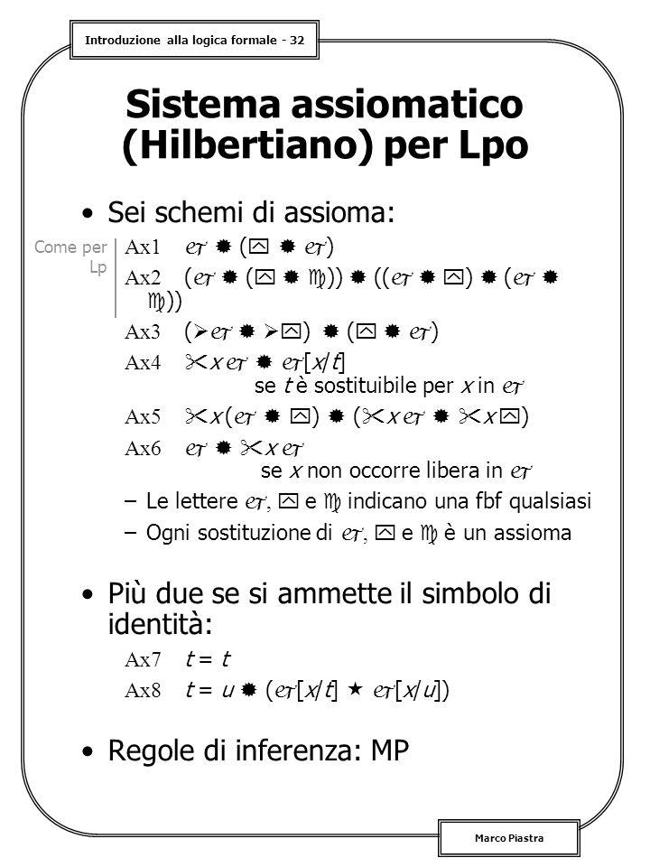Sistema assiomatico (Hilbertiano) per Lpo