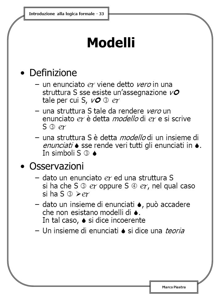 Modelli Definizione Osservazioni