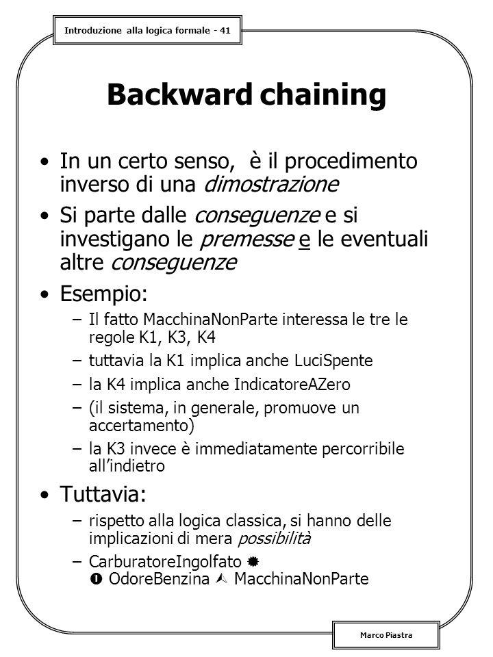 Backward chaining In un certo senso, è il procedimento inverso di una dimostrazione.