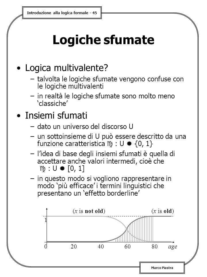 Logiche sfumate Logica multivalente Insiemi sfumati