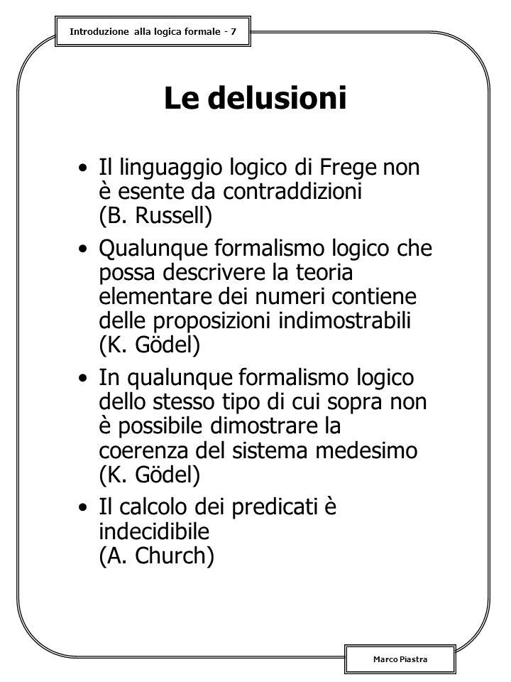 Le delusioni Il linguaggio logico di Frege non è esente da contraddizioni (B. Russell)
