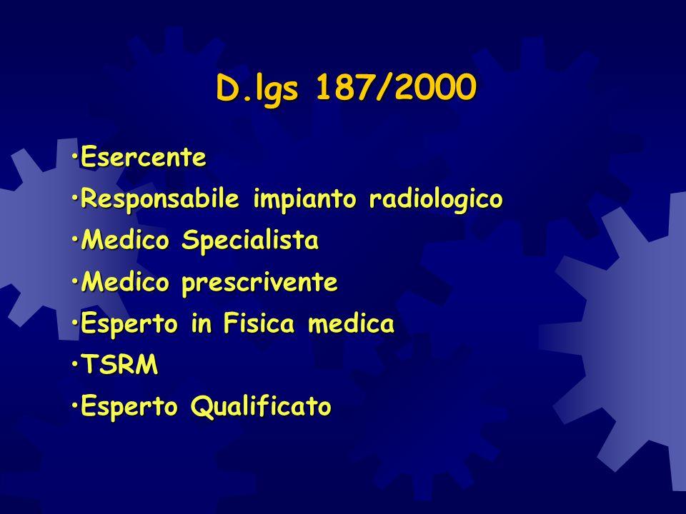D.lgs 187/2000 Esercente Responsabile impianto radiologico