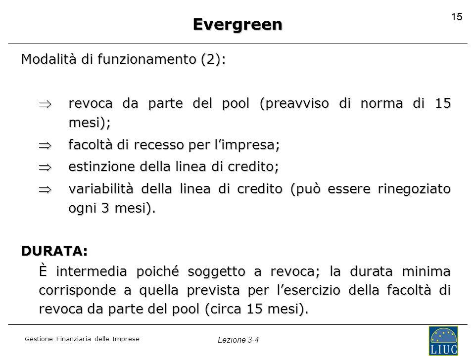Evergreen Modalità di funzionamento (2):