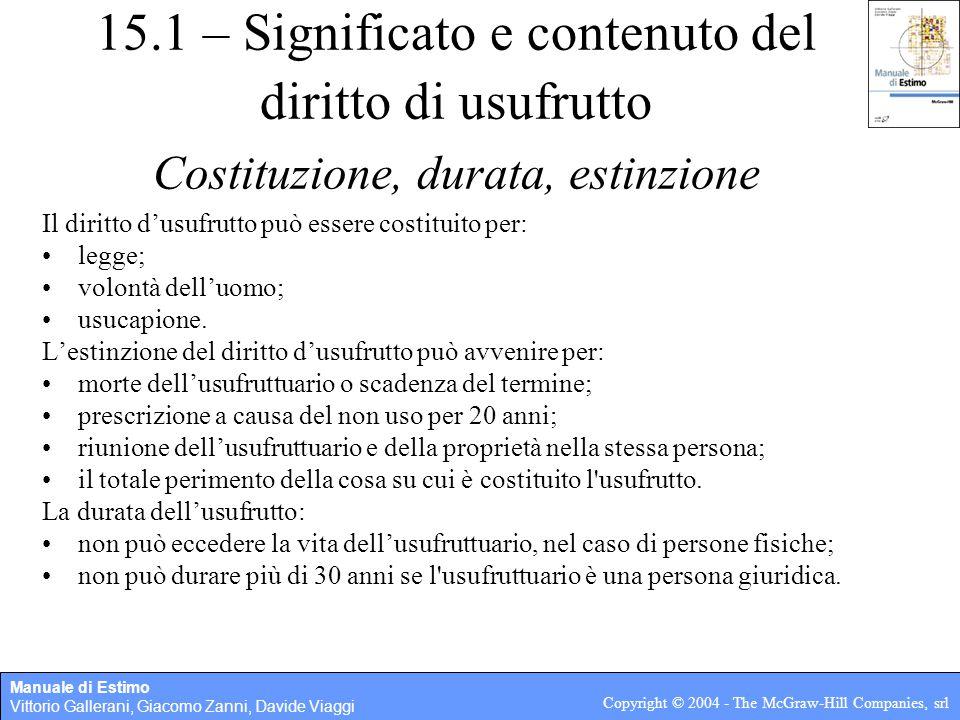 15.1 – Significato e contenuto del diritto di usufrutto Costituzione, durata, estinzione