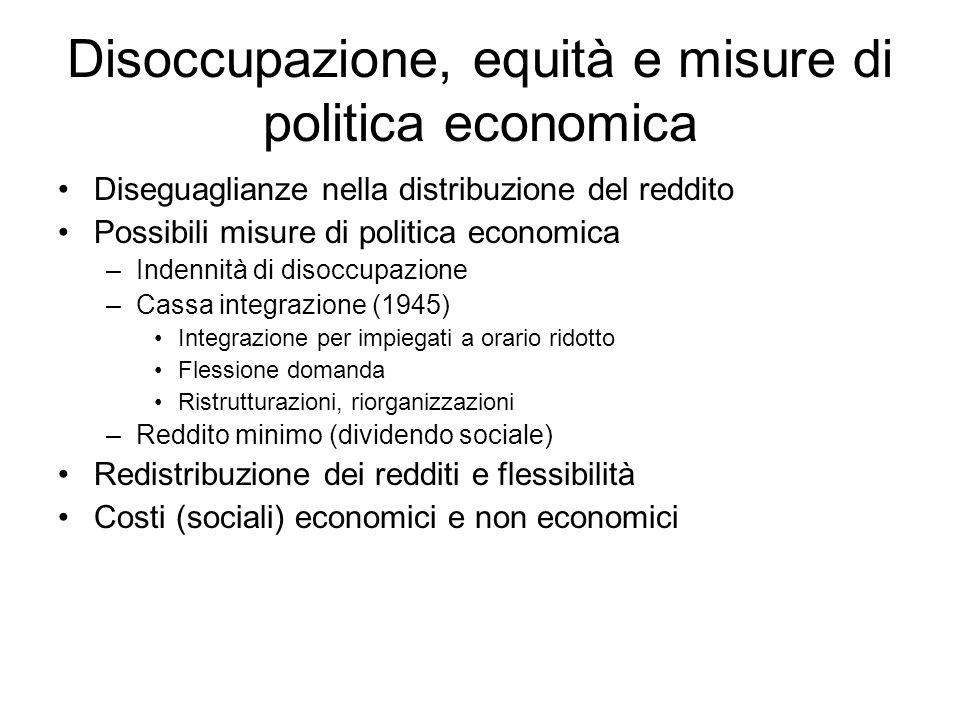 Disoccupazione, equità e misure di politica economica