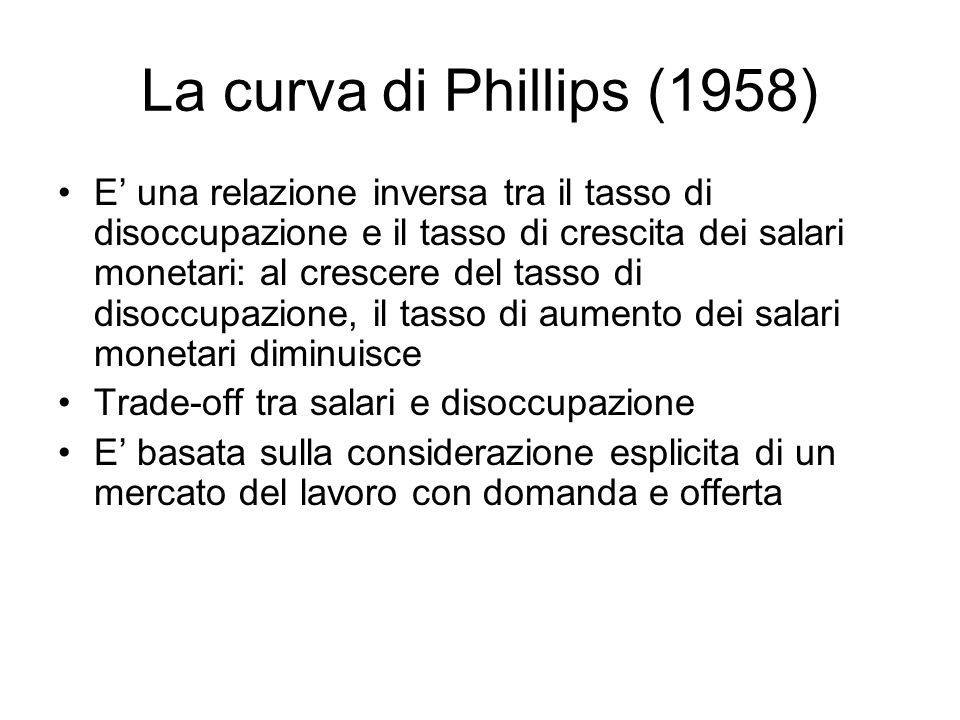 La curva di Phillips (1958)
