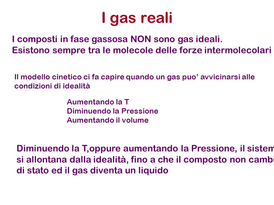 I gas reali I composti in fase gassosa NON sono gas ideali.