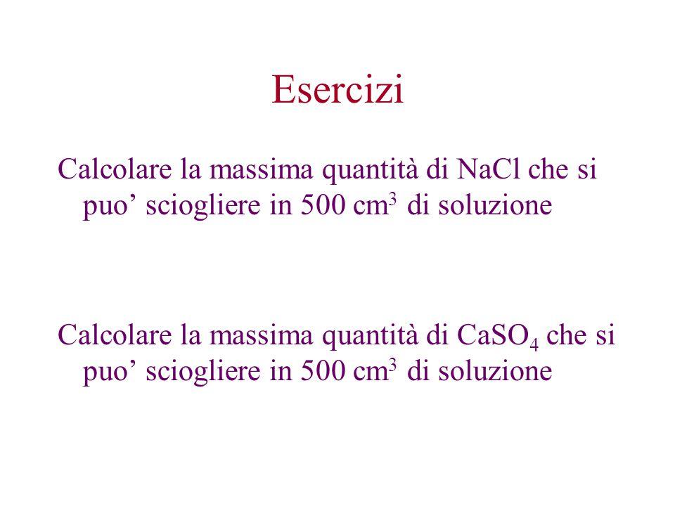 Esercizi Calcolare la massima quantità di NaCl che si puo' sciogliere in 500 cm3 di soluzione.