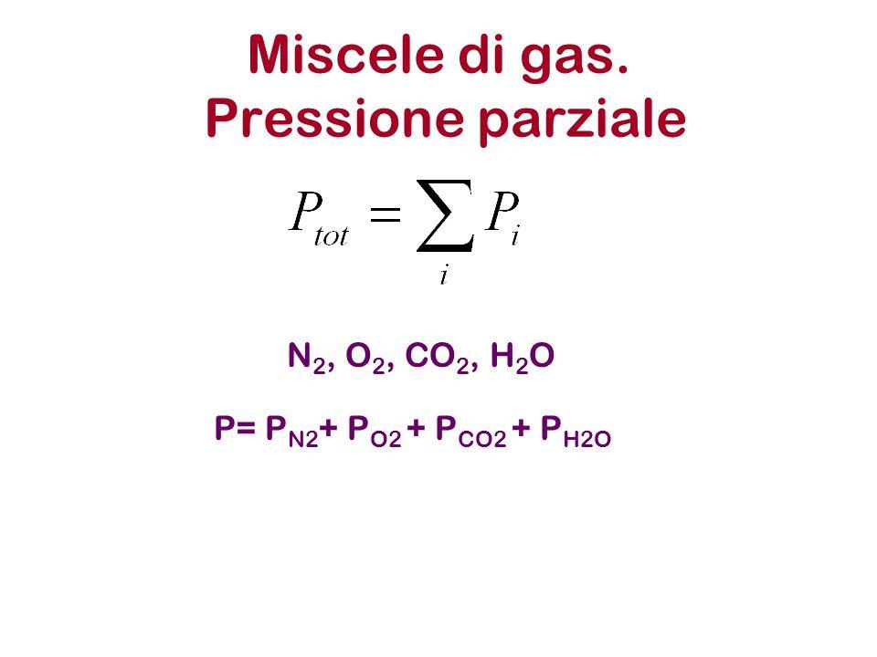 Miscele di gas. Pressione parziale