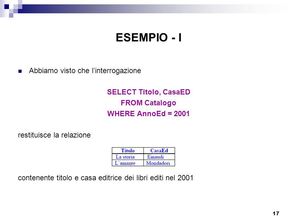 ESEMPIO - I Abbiamo visto che l'interrogazione SELECT Titolo, CasaED