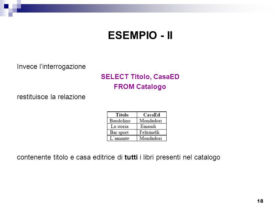 ESEMPIO - II Invece l'interrogazione SELECT Titolo, CasaED