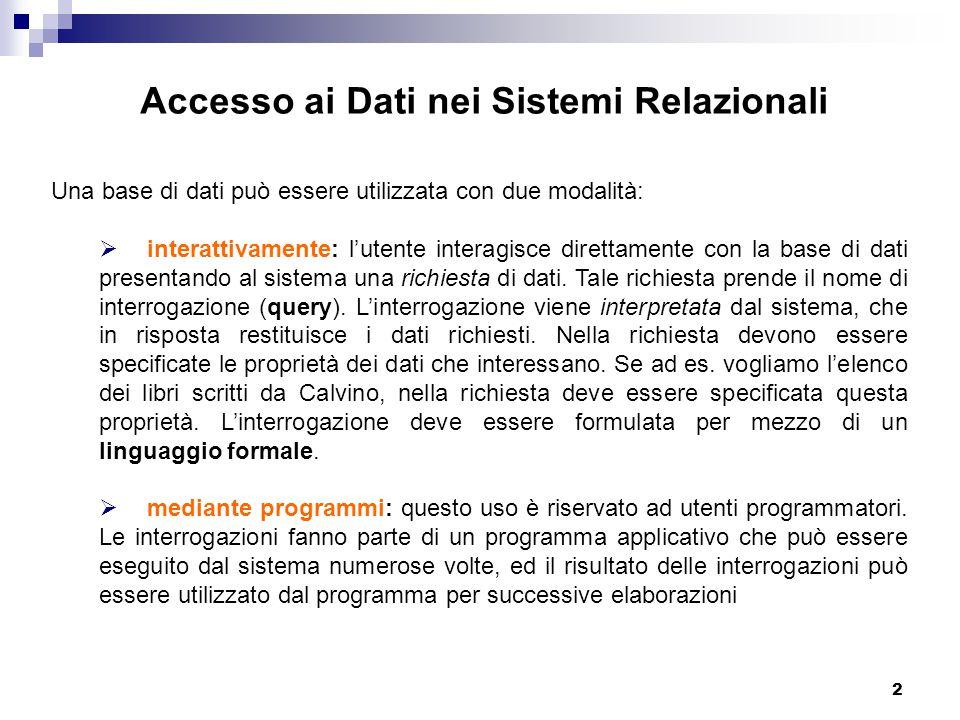 Accesso ai Dati nei Sistemi Relazionali