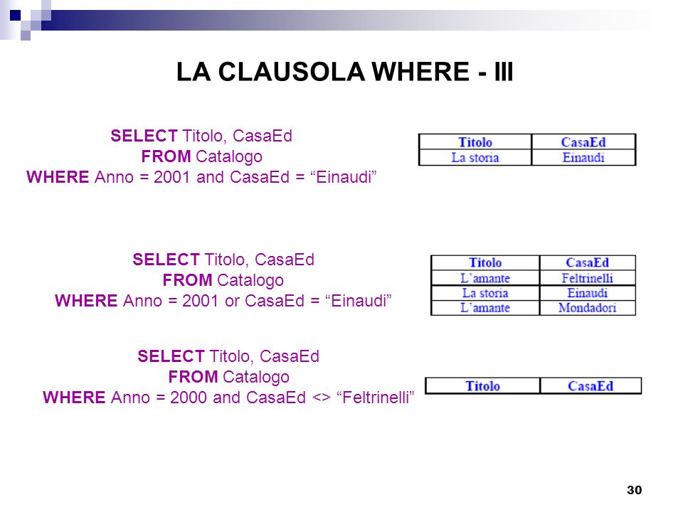 LA CLAUSOLA WHERE - III SELECT Titolo, CasaEd FROM Catalogo