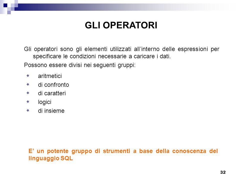 GLI OPERATORI Gli operatori sono gli elementi utilizzati all'interno delle espressioni per specificare le condizioni necessarie a caricare i dati.