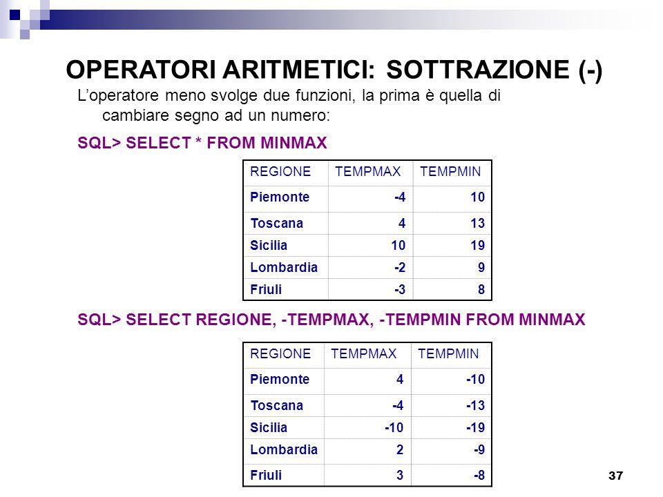 OPERATORI ARITMETICI: SOTTRAZIONE (-)