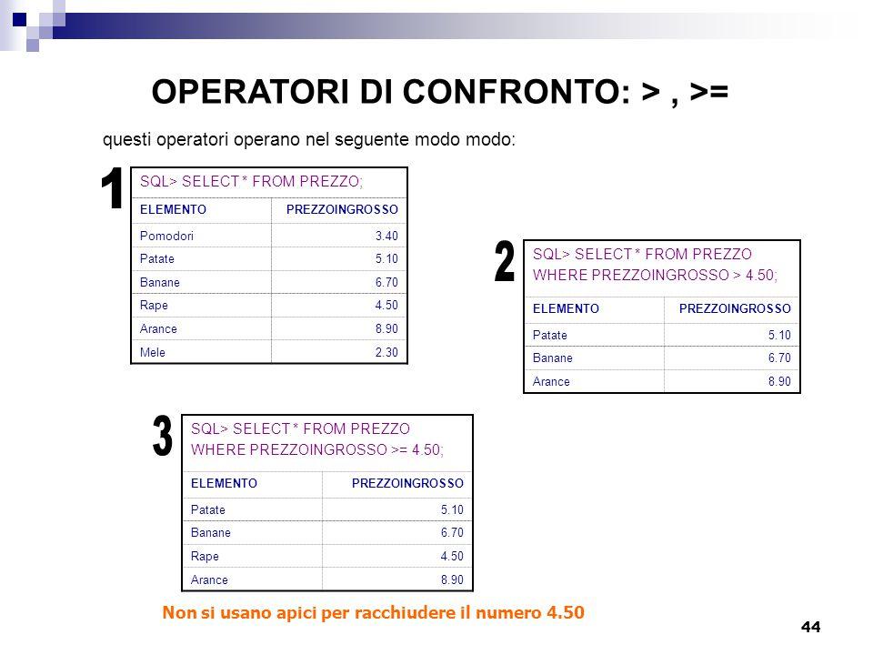 OPERATORI DI CONFRONTO: > , >=