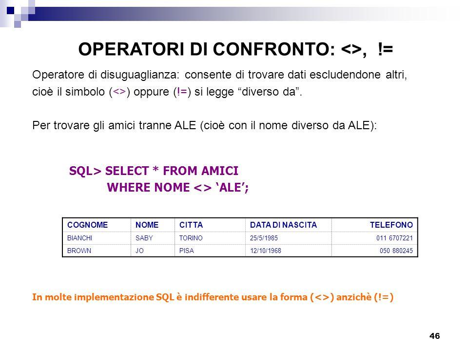 OPERATORI DI CONFRONTO: <>, !=