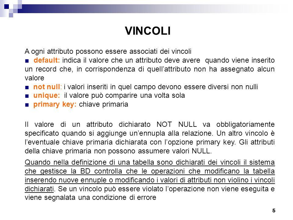 VINCOLI A ogni attributo possono essere associati dei vincoli