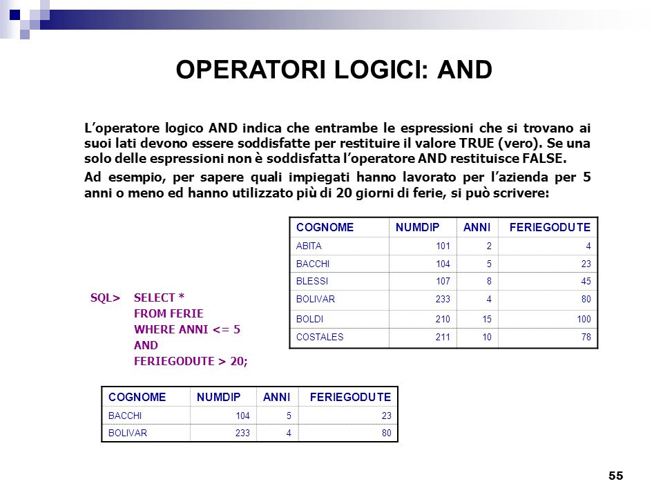 OPERATORI LOGICI: AND