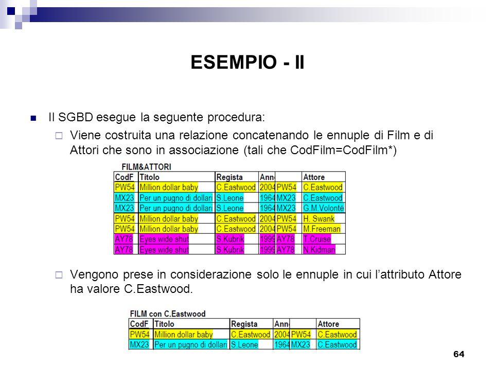 ESEMPIO - II Il SGBD esegue la seguente procedura: