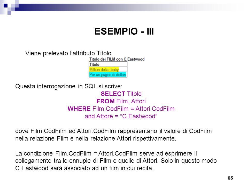 ESEMPIO - III Viene prelevato l'attributo Titolo
