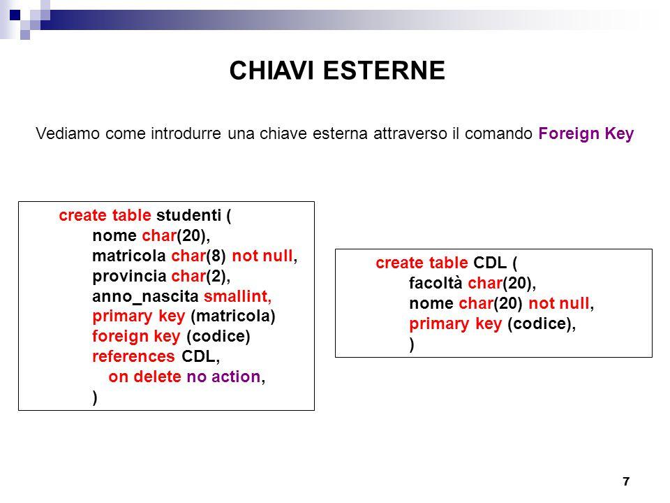 CHIAVI ESTERNE Vediamo come introdurre una chiave esterna attraverso il comando Foreign Key. create table studenti (
