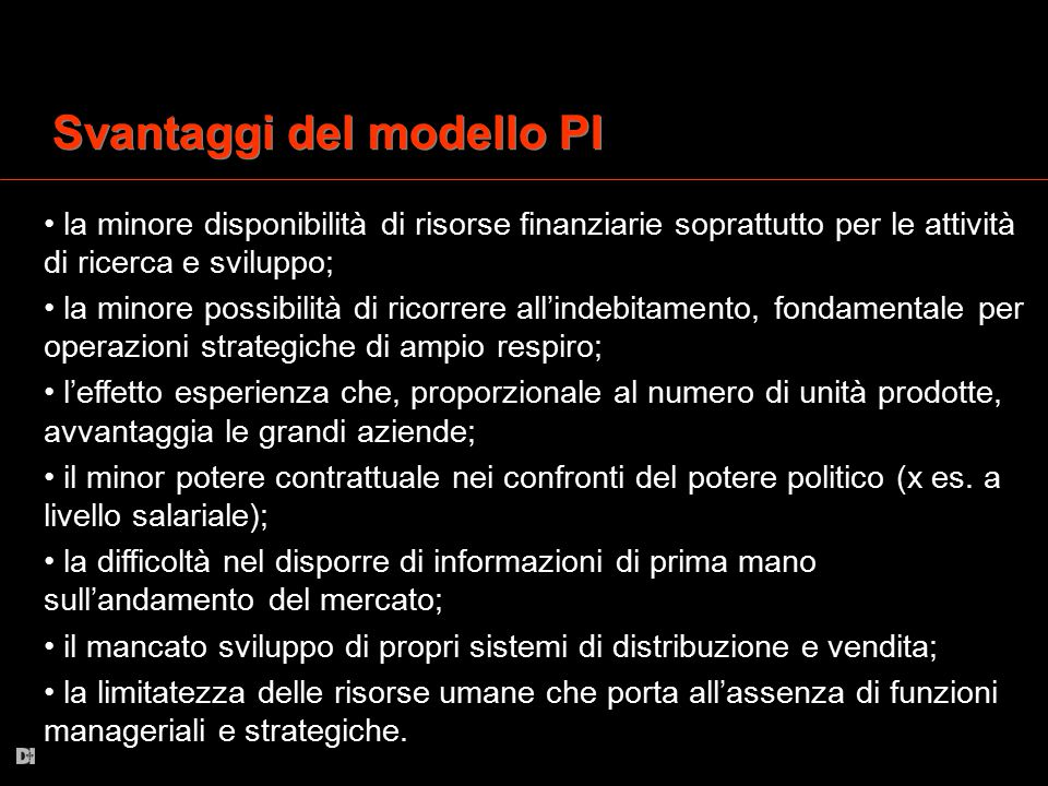 Svantaggi del modello PI