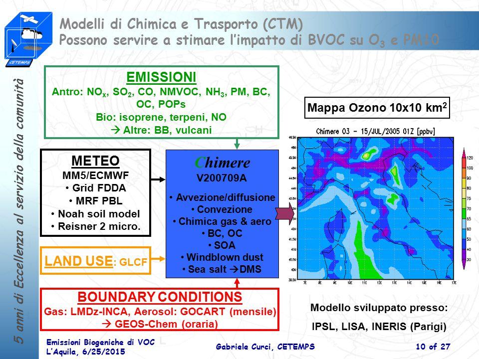 Modelli di Chimica e Trasporto (CTM) Possono servire a stimare l'impatto di BVOC su O3 e PM10