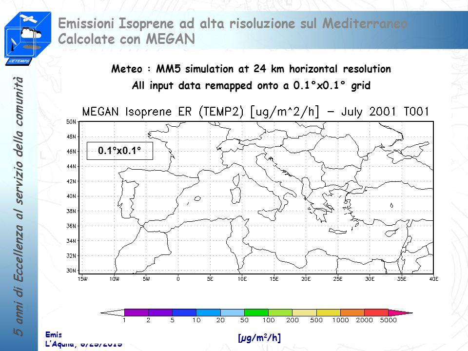 Emissioni Isoprene ad alta risoluzione sul Mediterraneo Calcolate con MEGAN