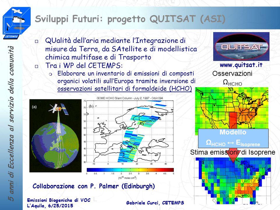 Sviluppi Futuri: progetto QUITSAT (ASI)