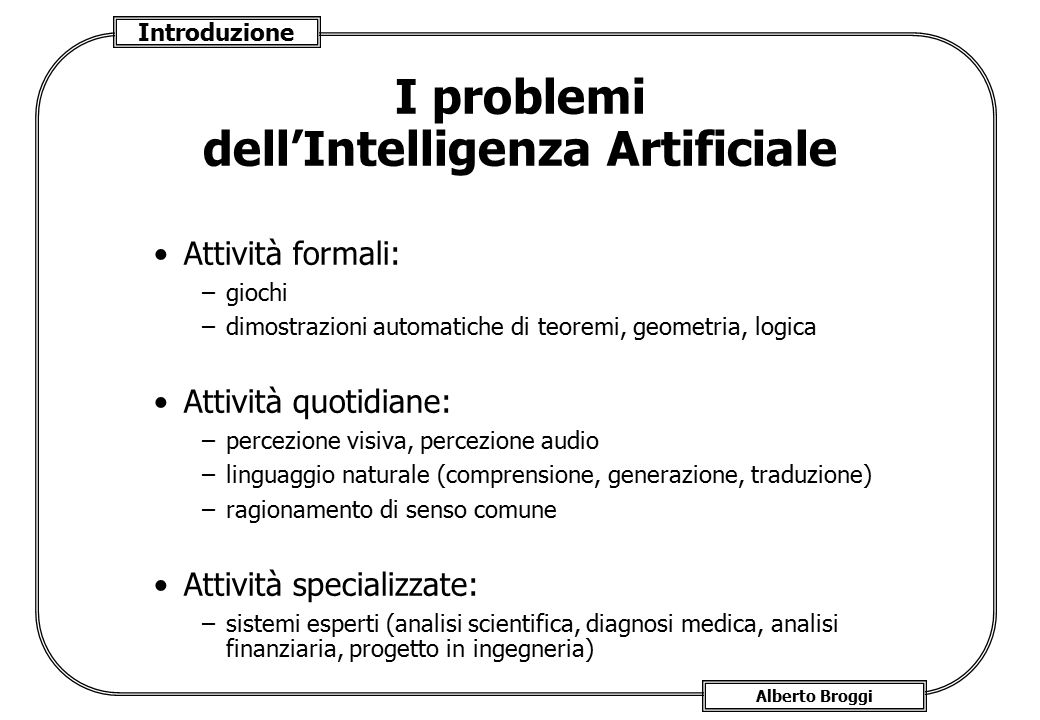 I problemi dell'Intelligenza Artificiale