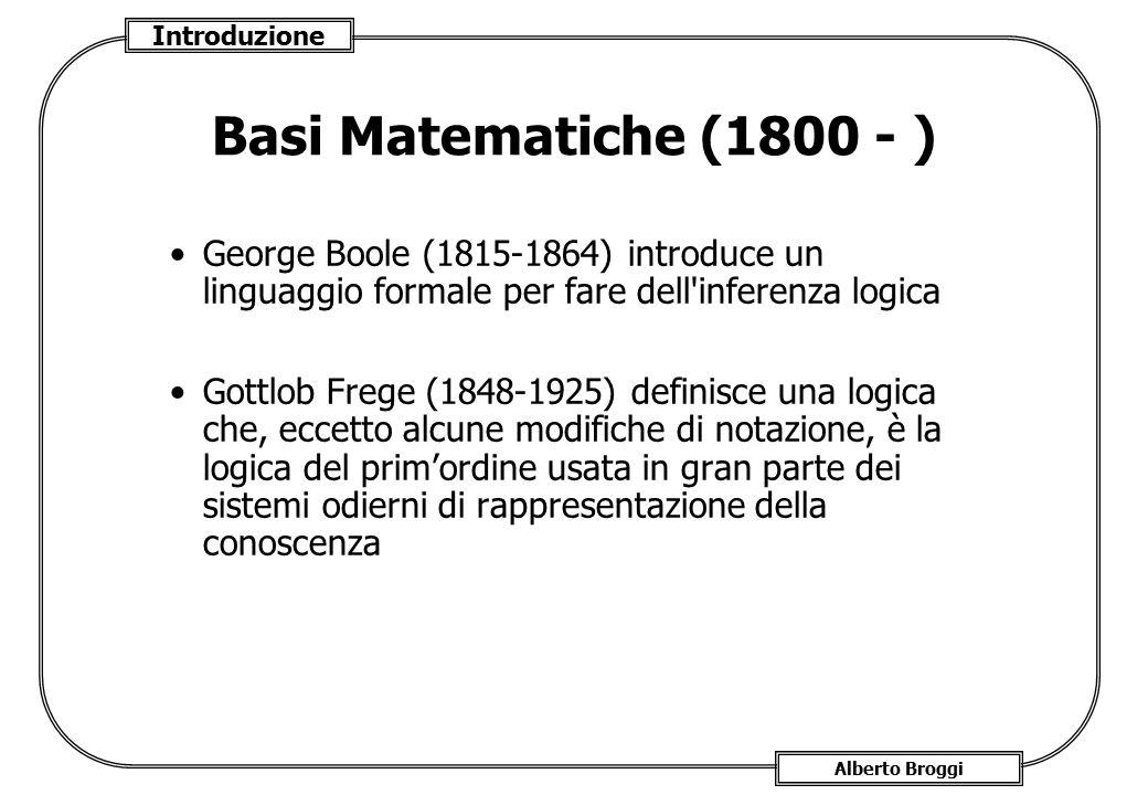 Basi Matematiche (1800 - ) George Boole (1815-1864) introduce un linguaggio formale per fare dell inferenza logica.