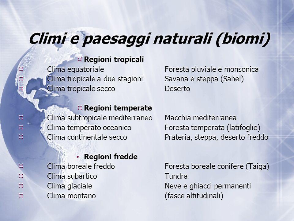 Climi e paesaggi naturali (biomi)