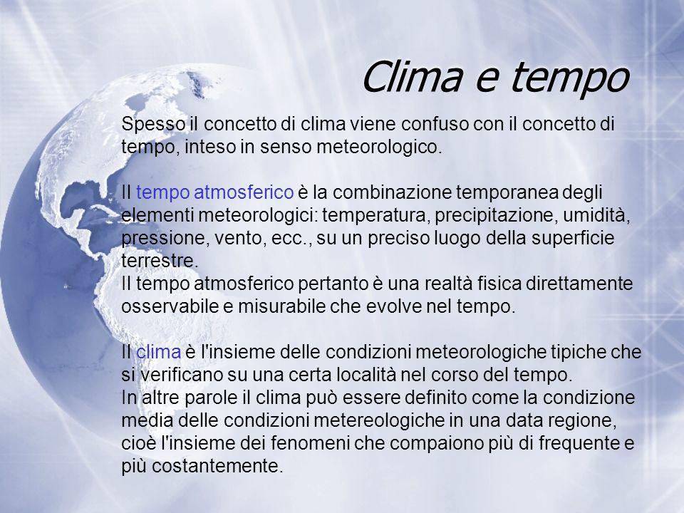 Clima e tempo Spesso il concetto di clima viene confuso con il concetto di tempo, inteso in senso meteorologico.
