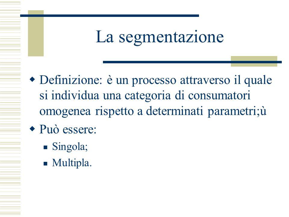 La segmentazione Definizione: è un processo attraverso il quale si individua una categoria di consumatori omogenea rispetto a determinati parametri;ù.