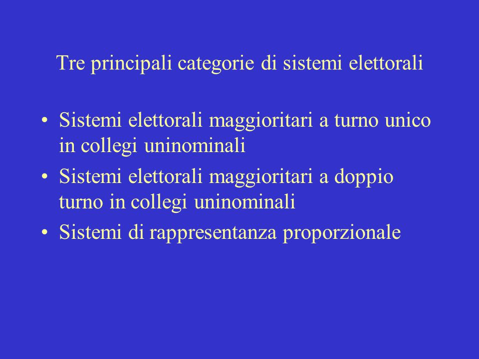 Tre principali categorie di sistemi elettorali