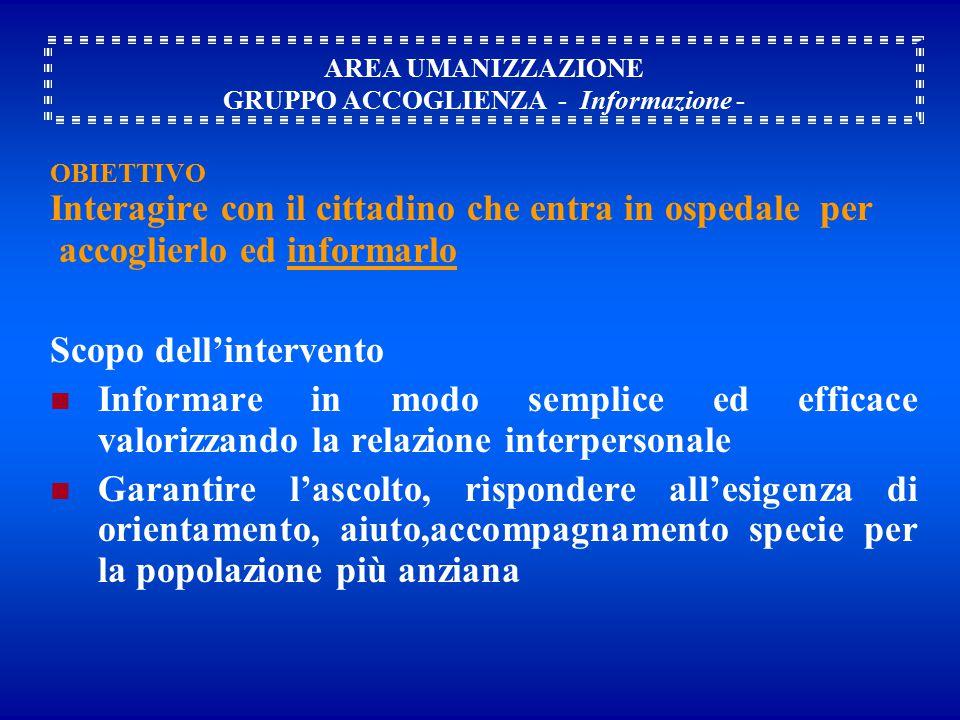 AREA UMANIZZAZIONE GRUPPO ACCOGLIENZA - Informazione -